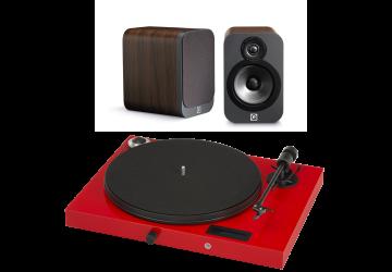 Project Juke Box E Red + Q Acoustics 3020 Black