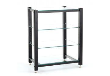 Custom Design Icon Signature 4 Shelf HiFi Stand Black wood clear glass