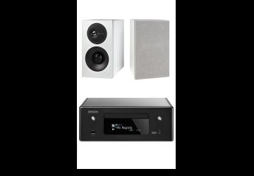 Denon Ceol N10 Black + Definitive Technology D7 Speakers White