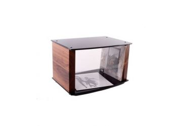 Custom Design Milan Vinyl Storage Stand Black glass & walnut with Vinyl