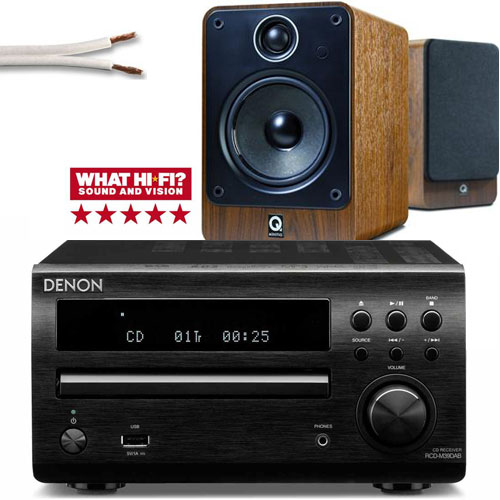 Denon DM39DAB with Q Acoustics 2020i speakers free cable